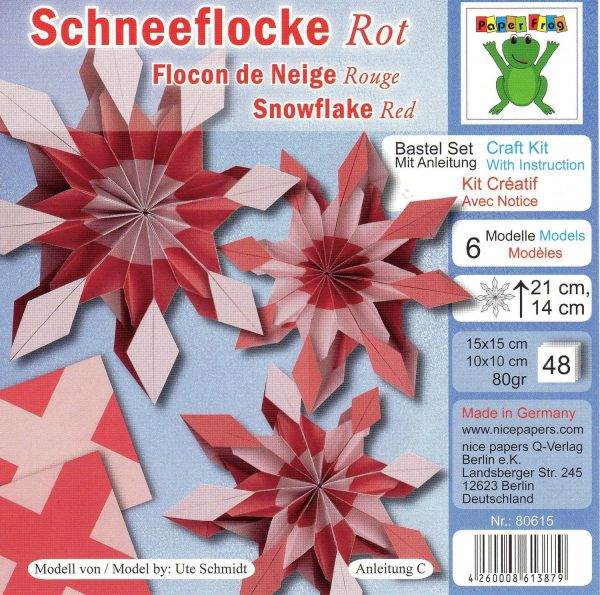 Red Snowflake 48 Sheets Double Sided Origami Paper by Nice Papers