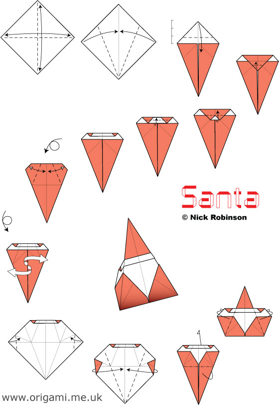 Christmas Origami Santa Claus - Easy origami - How to make an easy ... | 811x560